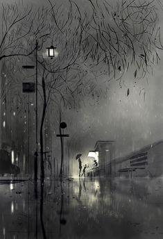 """The flower kiosk"" Pascal Campion digital illustration Pascal Campion, Arte Black, Rain Art, Photo Portrait, Grafik Design, Painting & Drawing, City Drawing, Rain Painting, Fantasy Art"