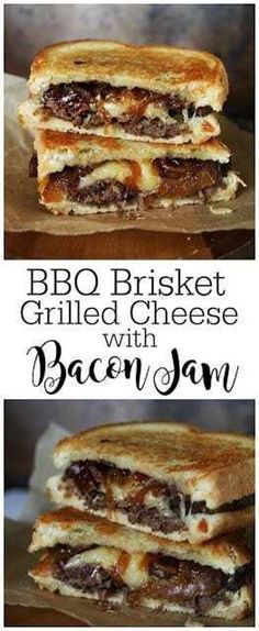 I Thee Cook: BBQ Brisket Grilled Cheese with Bacon Jam (Grilled Sandwich Recipes) Jam Recipes, Beef Recipes, Cooking Recipes, Recipes With Bacon Jam, Recipes Dinner, Cooking Kale, Cooking Fish, Kitchen Recipes, Grilling Recipes