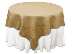 """72x72"""" Natural Brown Burlap Square Table Overlay"""