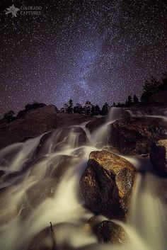 Capturing A Starry Night Waterfall In Rocky Mountain National Park, Colorado. Photo by Mike Berenson / Colorado Captures on Getty Images Starry Night Sky, Night Skies, Rocky Mountains, Rocky Mountain National Park, National Forest, Photography Workshops, Light Painting, Night Photography, Photography Tips