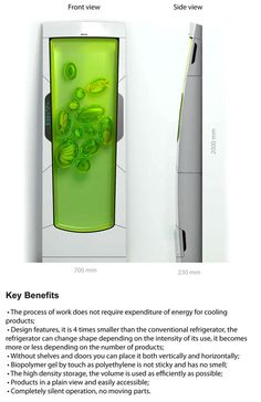 Bio Robot Refrigerator ...The Bio Robot fridge cools biopolymer gel through luminescence. It might look stinky and sticky but it's actually an odorless gel that envelopes the food.