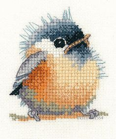 Heritage Crafts Little Friends Cross Stitch Kit  Chickadee