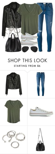 """Style #11448"" by vany-alvarado ❤ liked on Polyvore featuring Paige Denim, Frame, Gap, Converse, Forever 21 and Ray-Ban"