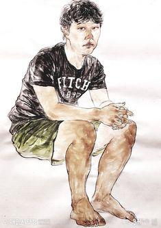 [한국화] 모델 인물과정 단계작 - 오원 한국화학원 #노원한국화학원 #강남한국화학원 #노원오원 #강남오원 #오원한국화 #미대입시닷컴 Korean Painting, Figure Drawing, Graphite, Watercolors, Drawings, Sketches, People, Dibujo, Art