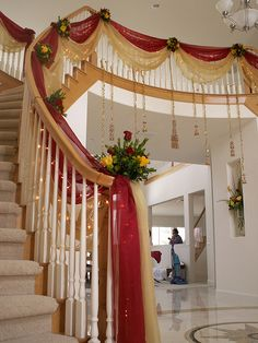 All Details You Need to Know About Home Decoration - Modern Wedding Stage Decorations, Wedding Staircase Decoration, Wedding Stairs, Desi Wedding Decor, Luxury Wedding Decor, Marriage Decoration, Backdrop Decorations, Wedding Gate, Wedding House