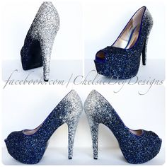 Glitter High Heels Silver Navy Blue Pumps Ombre Fade Glitter Peep Toe... ($115) ❤ liked on Polyvore featuring shoes, pumps, silver, women's shoes, silver glitter pumps, glitter pumps, peep-toe pumps, open toe pumps and silver shoes