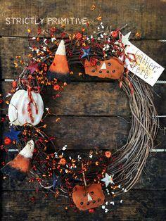 Fall Wreath - primitive wreath -Primitive Candy corn and Pumpkin wreath - fall…