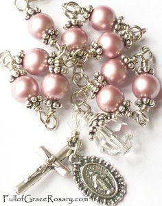Pink Pearl Rosary Bracelet Swarovski Crystal by FullofGraceRosary, $26.00