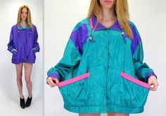 Vintage 80s 90s Reversible Purple Green Pink Bright Windbreaker Bomber Snap Button Up Track Jacket Fresh Prince of Bel Air by BlueFridayVintage