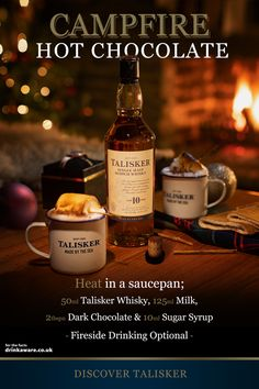 Settle in after a day of adventure with a Talisker Campfire Hot Chocolate. Talisker's unmistakeable smoky body and peppery kick marries beautifully with rich, sweet cocoa: the ultimate indulgence to sip, savour and enjoy. RECIPE: Talisker 10 year o Malt Whisky, Scotch Whisky, Cocktail Drinks, Cocktail Recipes, Cocktails, Talisker Whisky, Hot Chocolate Recipes, Christmas Drinks, Yummy Drinks