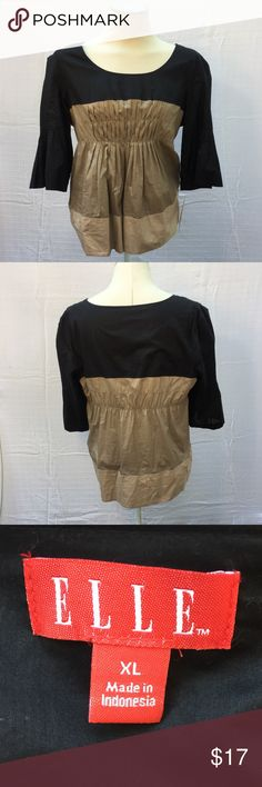 """NWT color-blocked top Tri-color pleated top. Super cute, slight bell shaped sleeves, pleating on bust. (Excellent for tummy camouflage!) size XL. NWT. When laid flat, it measures 20"""" from armpit to armpit, 25"""" from top of shoulder to hem. 🚫NO TRADES Elle Tops"""
