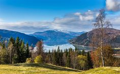 Download wallpapers Langvannet, mountain lake, autumn, mountain landscape, Norway