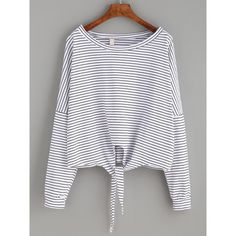 White Striped Tie Front T-shirt (€9,38) ❤ liked on Polyvore featuring tops, t-shirts, long sleeves, shirts, white, tee-shirt, scoop neck t shirt, white long sleeve shirt, striped long sleeve shirt and long sleeve t shirts