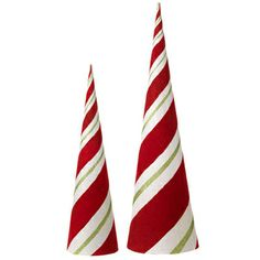 $42.00 made of paperboard. Can probably make cone using posterboard, tape off & paint a red stripe, add a green stripe then coat with decopage and cover with clear glitter. Peppermint Christmas Decorations, Indoor Christmas Decorations, Halloween Decorations, Christmas Time, Christmas Crafts, Christmas Ornaments, Cone Trees, Xmas Trees, Wreath Making Supplies