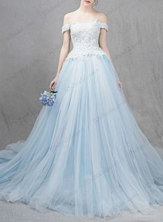 beautiful princess tulle blue wedding dress