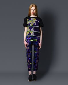 Sindiso Khumalo AW13/14 - Hand embroided top with digital print trousers