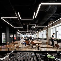led linear in office space open ceiling Corporate Office Design, Modern Office Design, Gym Design, Gym Interior, Office Interior Design, Office Interiors, Office Ceiling Design, Corporate Interiors, Bureau Design