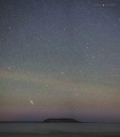 By After Twilight - Astrophotography Andromeda Galaxy Over Isla de Los Pájaros