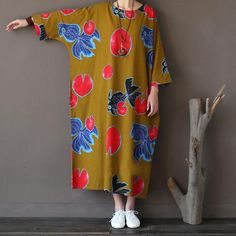 Yellow Retro Long Sleeved Dress Gown