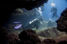 Scuba diving in the south of Tenerife in caverns  buceo, duiken, tauchen