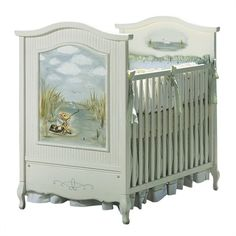 AFK's mission is to create the world's finest furnishings for children. The French Panel Crib in Antico White with Gone Fishin' Motif is no exception!