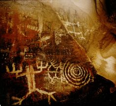 The cave paintings of the Fernadero/Tataviam Tribe located in the Santa Susana Mountains, circa 1970s. The Tataviam settled in the Santa Clara River Valley around A.D. 450. The last full-blooded Tataviam, Juan Josa Fustero, died in 1921. About 600 Native Americans in the greater Los Angeles area claim Tataviam ancestry. San Fernando Valley History Digital Library.