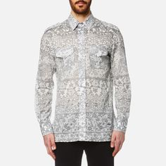 Vivienne Westwood MAN Men's Printed Mussola Military Shirt Grey Lace