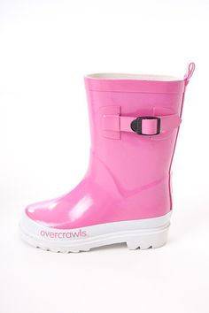Overcrawls Gumboots - Candy Pink - $39.95 - Bright and funky candy pink wellies by Overcrawls Australia!  Whether it's jumping in puddles or helping out in the garden these gorgeous girls gumboots will keep your little ones feet dry, comfy and looking oh so stylish as well!  Perfect footwear to team with some comfy pants, jeans or even a tutu - we LOVE these! #littlebooteek #kids #girls #footwear #fashion #overcrawls