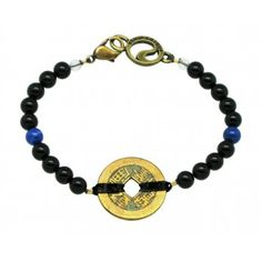 Energy Muse Protection Bracelet; The human body is constantly bombarded with positive and negative energies. Our Protection piece focuses on creating a shield against harmful energy. Once introduced to your energy field, Black Onyx works to repel negative vibrations. Lapis Lazuli has been added to encourage total awareness and support a state of attentive serenity.