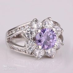 Purple swarvoski engagement ring flower