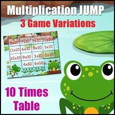 """Multiplication Game: """"Ten Times Table Jump"""" 6 Multiplication Game Boards & 40 Game Cards - This 'Ten Times Table Jump' game is a collection of 6 Multiplication Game Boards designed to facilitate the learning of the Nine Times Table in an enjoyable way. 10 Times Table, Multiplication Games, Game Boards, Card Games, Classroom, Learning, Cards, Collection, Class Room"""