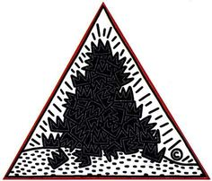 KEITH HARING - Pyramid A Pile of Crowns (For Jean Michel Basquiat) 1988
