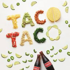 50 Finger Licking Food Object Typography Commercial Projects by Becca Clason taco written with cheese guac beens taco shells tomatoes rice cilantro limes