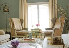 Apartemento Erin Fetherston - loft romântico - verde e bege - decoração sala de estar