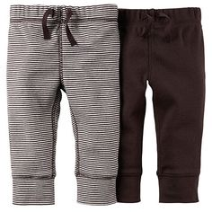 "Carter's Boys 2 Pack Brown and Ivory/Brown Striped Drawstring Knit Pants - Carters - Babies ""R"" Us"
