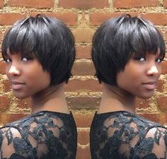 African American cropped bob hairstyle