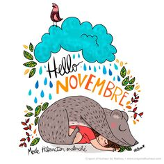 By Crayon d'humeur Organization Bullet Journal, Bullet Journal Layout, Bullet Journal Inspiration, Hello Novembre, Sign O' The Times, 2017 Planner, Happiness Project, Illustration Girl, Months In A Year