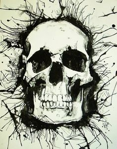 Skull Pen and Ink Original Sketch by BrittanyLeighArt on Etsy, $47.00