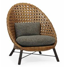 Bernhardt. Jeannie Hoop Back Chair, rattan, feather down pillows with knife edge