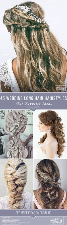 45 Our Favorite Wedding Hairstyles For Long Hair ❤️ We make a list of our favorite wedding hairstyles for long hair. Look through it and pick your perfect variant to become the most beautiful bride. See more: http://www.weddingforward.com/favorite-wedding-hairstyles-long-hair/ #wedding #hairstyles #halfuphalfdownweddinghairstyles