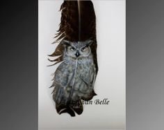 Owl On a feather image 12x6cm Feather 30x6cm Airbrush and acrylic inkt