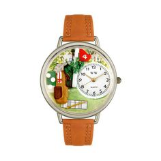 Whimsical Watches Designed Painted Golf Bag Tan Leather And Silvertone Watch