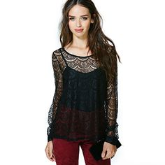 43bc73ba55 Shop the affordable Black Round Neck Long Sleeve Floral Lace Blouse from  Tops collection that inspired by most covetable trends.