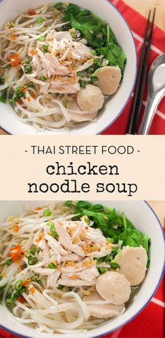 Thai Chicken Noodle Soup ก๋วยเตี๋ยวไก่ฉีก This chicken noodle soup is the Thai version of chicken pho. It's a classic Thai street food that is so comforting, and quite easy to make at home! Chicken Rice Noodles, Asian Chicken Noodle Soup, Rice Noodle Soups, Asian Noodle Recipes, Chicken Pho, Asian Soup, Asian Noodles, Asian Recipes, Asian Noodle Soups