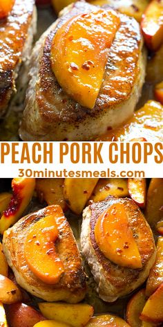 One Pan Peach Pork Chops are the perfect combination of sweet and savory. Ready in just 30 minutes. and perfect for summer dinners. #30minutesmeals #peachporkchops #porkchops Roast Recipes, Vegan Recipes, Cooking Recipes, Yummy Recipes, Peach Pork Chops, Best Dinner Recipes, Breakfast Recipes, Recipe For Mom, Kitchen Recipes