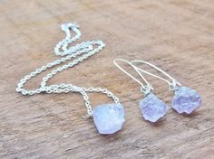 Raw Amethyst Crystal Nugget Necklace  Earrings by MysticTortoise