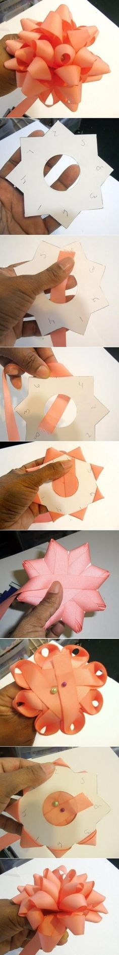DIY Ribbon Bow using reusable cardboard template.