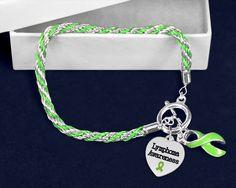 Lymphoma Lime Green Ribbon Rope Bracelet (1 Bracelet - RETAIL)