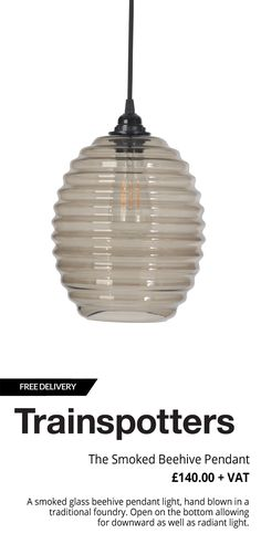 The Smoked Beehive Pendant Glass Lights, Ceiling Lamps, The Smoke, Arts And Crafts Movement, Industrial Lighting, Lampshades, Vintage Industrial, Girls Bedroom, Cnc