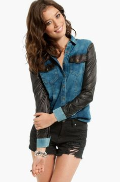 Honest Sleeves Denim Shirt $33 at www.tobi.com